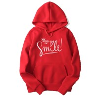 You make me Smile Red Hoodie For Women