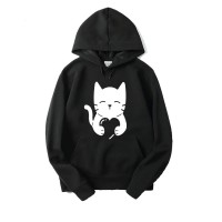 Love Cat Black hoodie For Women