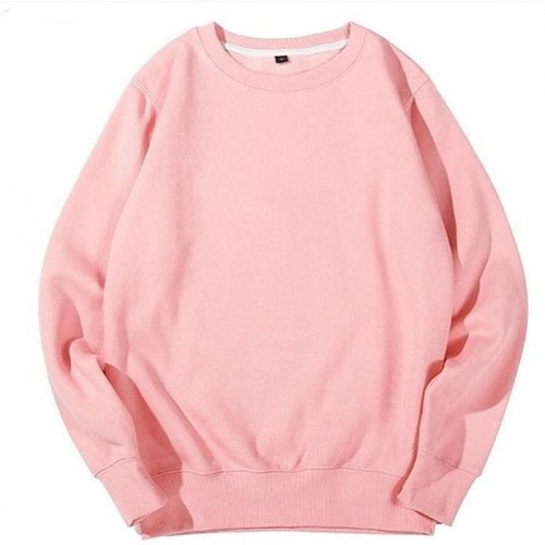 Basic Pink Pullover Sweatshirt For Girls