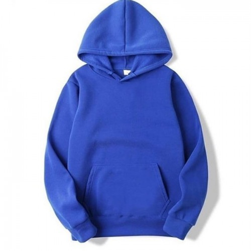 Plain Blue Pullover Hoodie For Boys